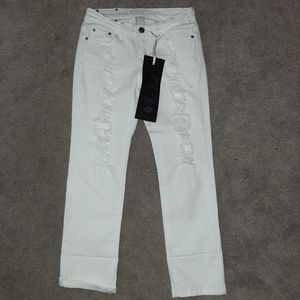 Red Rivet Distressed White Denim Jeans